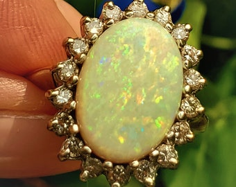 Large Fiery 1960s Natural Opal and Diamond Statement Ring! October Birthstone Vintage Estate!