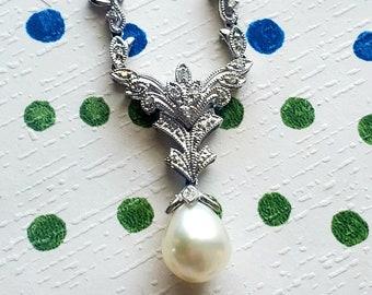 Gorgeous Drop Pearl Diamond 14K Bridal Necklace! Vintage Estate!