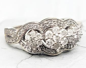 Antique Look Diamond Cluster Floral Engagement Ring! 10K Vintage Estate!