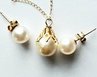 Beautiful Pearl Drop Necklace and Stud Earring  3 Piece Set! 14K! Bridal or Birthday Gift!
