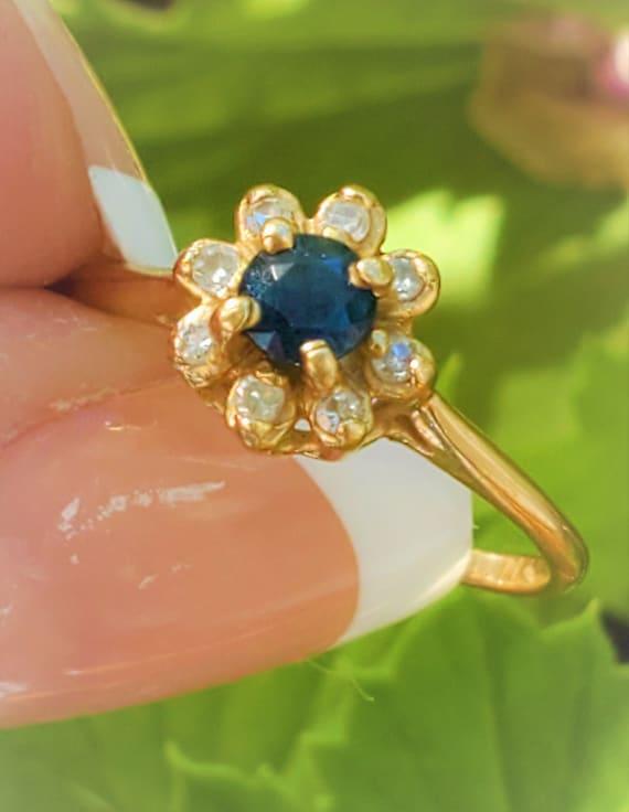 Estate Blue Sapphire Diamond 14K Daisy Ring! Vinta
