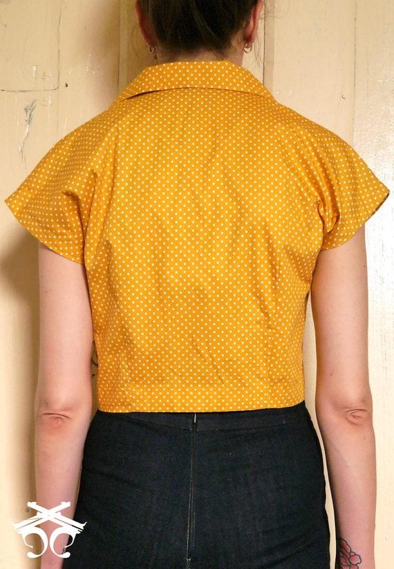 Size Medium Size Small Yellow polka-dot cropped 40s shirt\\\\ yellow 40s blouse  handmade blouse \\\\ cropped blouse  Size XS