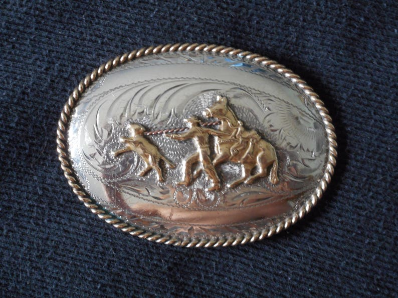 Silver Cowboy Cowgirl Belt Buckle Calf Roping Buckle Hand Engraved Sterling Silver Buckle Yoakum Tex Nice Condition Western Wear Ships Free