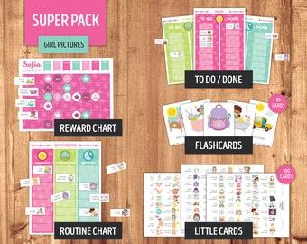 Editable Routine Flashcards Set A Schedule Everyday Chores Tasks Scheduler Activities Children Toddler Kids