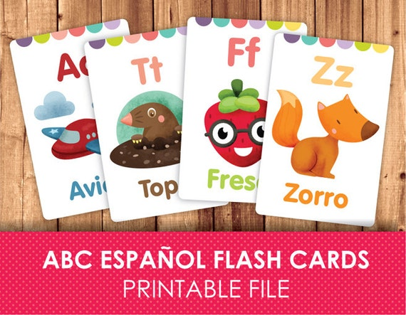 photograph relating to Spanish Flashcards Printable named Spanish Flashcards for Small children / Printable Flash Playing cards / ABC