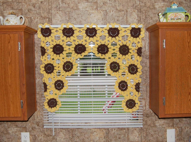 Sonnenblume Fenster Volant Sonnenblume Vorhang gehäkelter