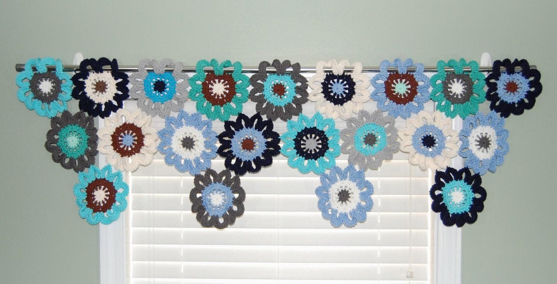 Gehäkelter Blume Fenster Volant nautische Vorhänge Volant | Etsy