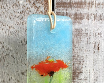 Norma Orange Flower - Fused Glass Small Hanging