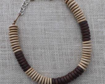 Ethnic Whitewood and Tiger Ebony wood bead choker