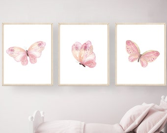 Lover Gift Rose Gold And Marble Art Pink And Marble Butterfly Print Pink And Grey Marble Wall Art Butterfly Poster Pink Wall Art