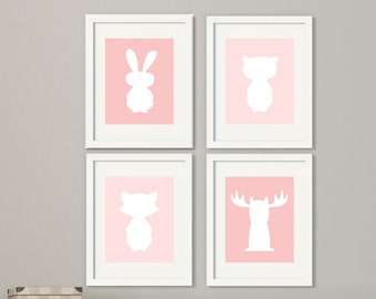 Girls Woodland Animal Wall Art, Rabbit, Bear, Moose and Raccoon Wall Art, Baby Girls Room Decor in Pink White, Forest Animal Silhouette-H599