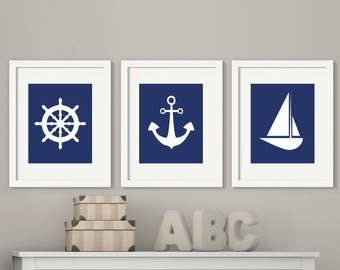 Anchor Sailboat Wall Art, Nautical Wall Art, Suits Navy And White Bedroom  Decor,