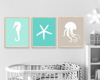 Nursery Beach Wall Art Print, Seahorse, Star Fish and Jelly Fish Wall Art Prints, Nautical Nursery Wall Art Print Bedroom Decor H636