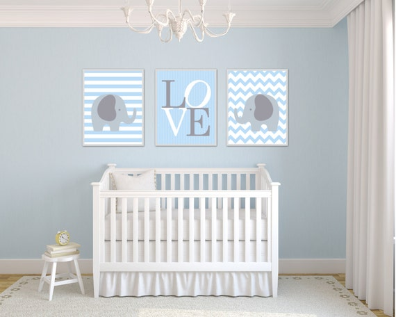 Elephant Nursery Art Print Blue And Gray Love Blue Nursery Etsy