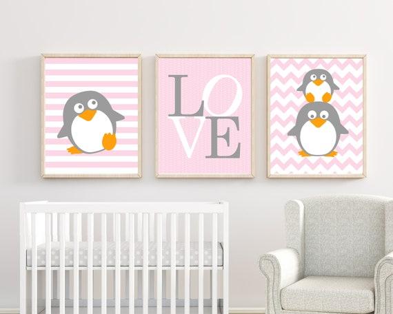Pinguin Kindergarten Kunstdruck Baby Madchen Rosa Und Grau Etsy