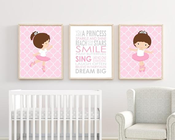 Mädchen Wandbilder Kinderzimmer Mädchen Dekor Ballerina-Wand-Dekor mit  Zitat rosa und grau Kinderzimmer Dekor für Baby Mädchen Kinderzimmer Set  von 3 ...