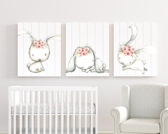 Girl BUNNY wall art Baby girl bedroom wall prints Girls nursery decor Pink  and white Girl bedroom decor PRINTS, Set of 3 - H1340