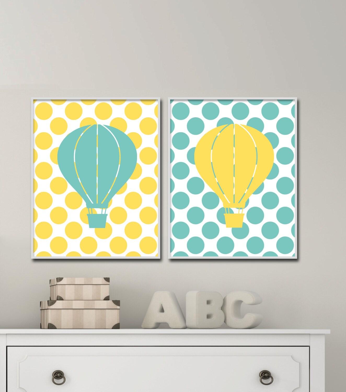 Hot Air Balloon Nursery in Yellow and Aqua. Baby Boy Nursery   Etsy