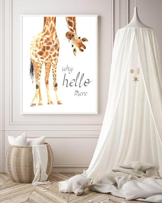 Giraffe Nursery Decor Wall Print 3 Colour choices available
