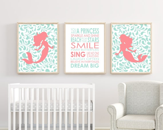 Mermaid Nursery Wall Art Suits Mint And Coral Nursery Decor Nursery Quote Dream Big Little One Quote Baby Girl Bedroom Art H255