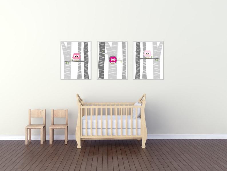 Baby Mädchen Owl Kinderzimmer Wand Kunst Druck | Etsy