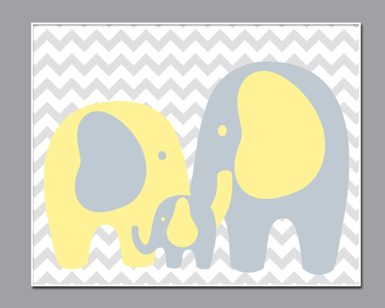 Nursery Art Elephant Print Wall Art Prints Yellow and Gray | Etsy
