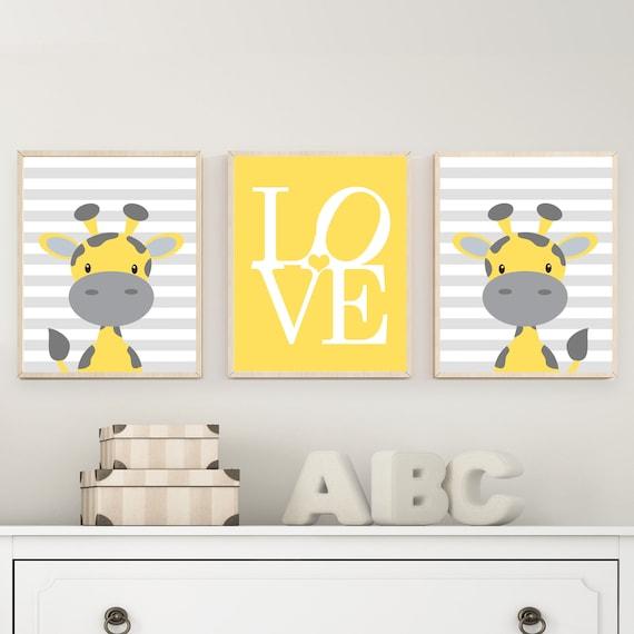 Gelb und grau Kinderzimmer Kunstdrucke. Baby Kunstdrucke Boy | Etsy