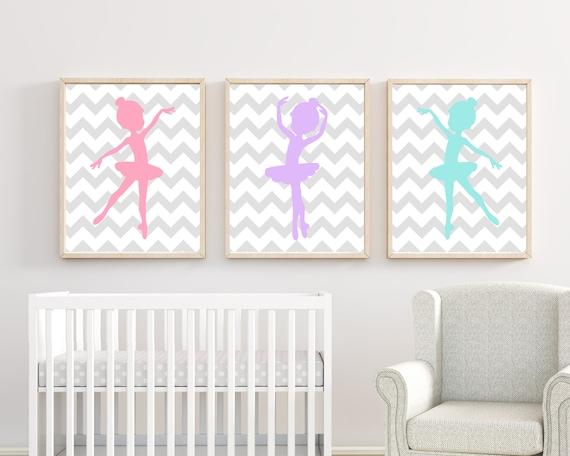 baby m dchen kinderzimmer kunst 3 ballerinas kunstdruck rosa etsy. Black Bedroom Furniture Sets. Home Design Ideas