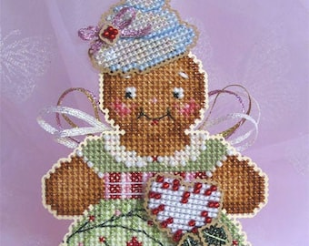 Brooke's Books GingerBaby Angel Dimensional Ornament INSTANT DOWNLOAD Cross Stitch Chart