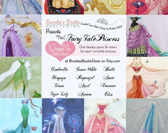 35% off All 12 Brooke's Books FairyTale Princess Dress Up Collection Cross Stitch Charts INSTANT DOWNLOADS