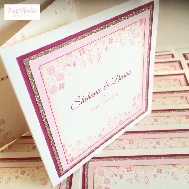 Wedding Invitations With Glitter Floral Design Wedding Etsy