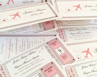 Boarding Pass Wedding Invitations, Ticket Wedding Invites, Wedding Abroad/Airline Invitations - Aeroplane Travel Invites - In any colours
