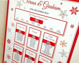 Wedding Table Plan - Christmas Wedding Seating Plan - Snowflake Design Table Plan - Festive Snow Seating Chart - Available in Any Colours -