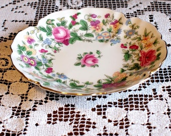 Crown China Dish, Scalloped Edge and Roses made in Staffordshire, England