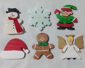 6 Piece Wood Ornament Set