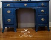 SOLD Vanity Desk, Dressing Table, Dresser, Secretary, Office Desk, Dresser, Blue, Boho