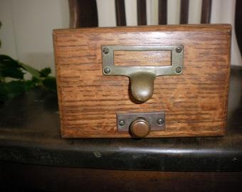 Wood Card Case File Drawer