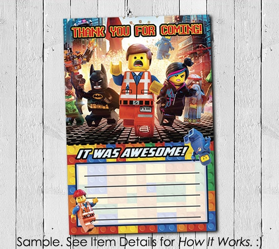Lego Movie Thank You Card Instant Download Printable Lego Etsy