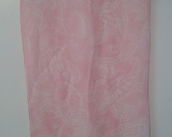 Pastel Pink and White Silk Chiffon Scarf