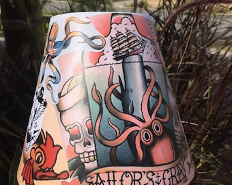 Sailor Jerry Nautical themed Lampshade with Bottle Lamp
