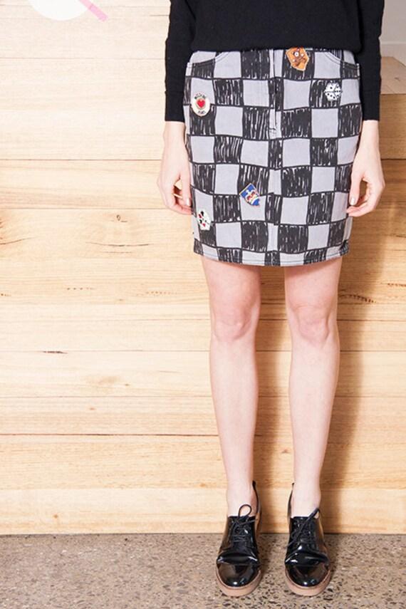 Vintage 1990s MOSCHINO Checkerboard LOGO Skirt - image 4