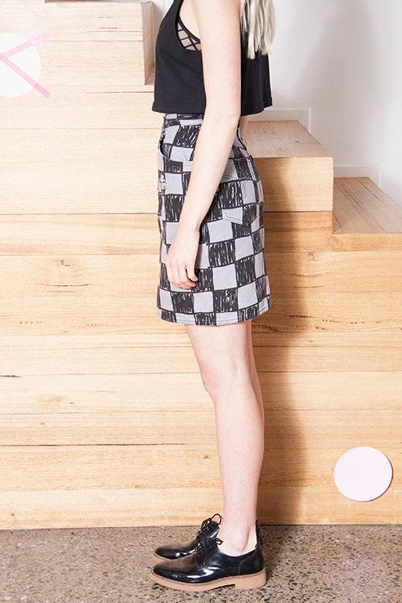 Vintage 1990s MOSCHINO Checkerboard LOGO Skirt - image 2