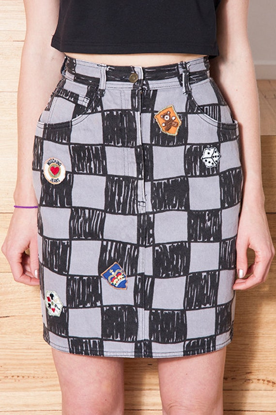 Vintage 1990s MOSCHINO Checkerboard LOGO Skirt