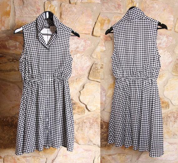 Vintage COMME DES GARCONS Tricot Gingham Mini Dres
