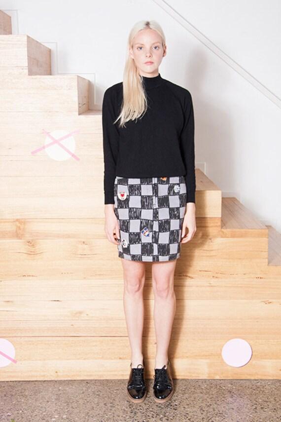 Vintage 1990s MOSCHINO Checkerboard LOGO Skirt - image 5