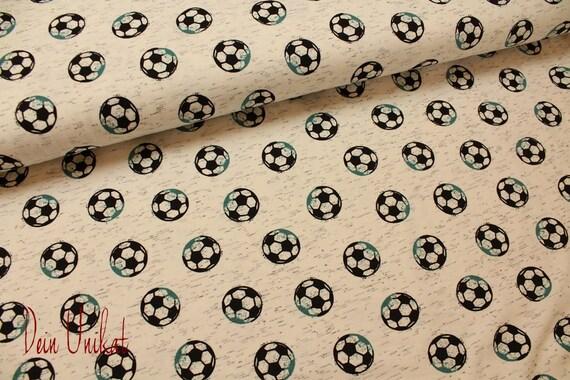 Baumwolljersey Jersey Fussball Creme Meliert Stoff Stoffe Baumwolle