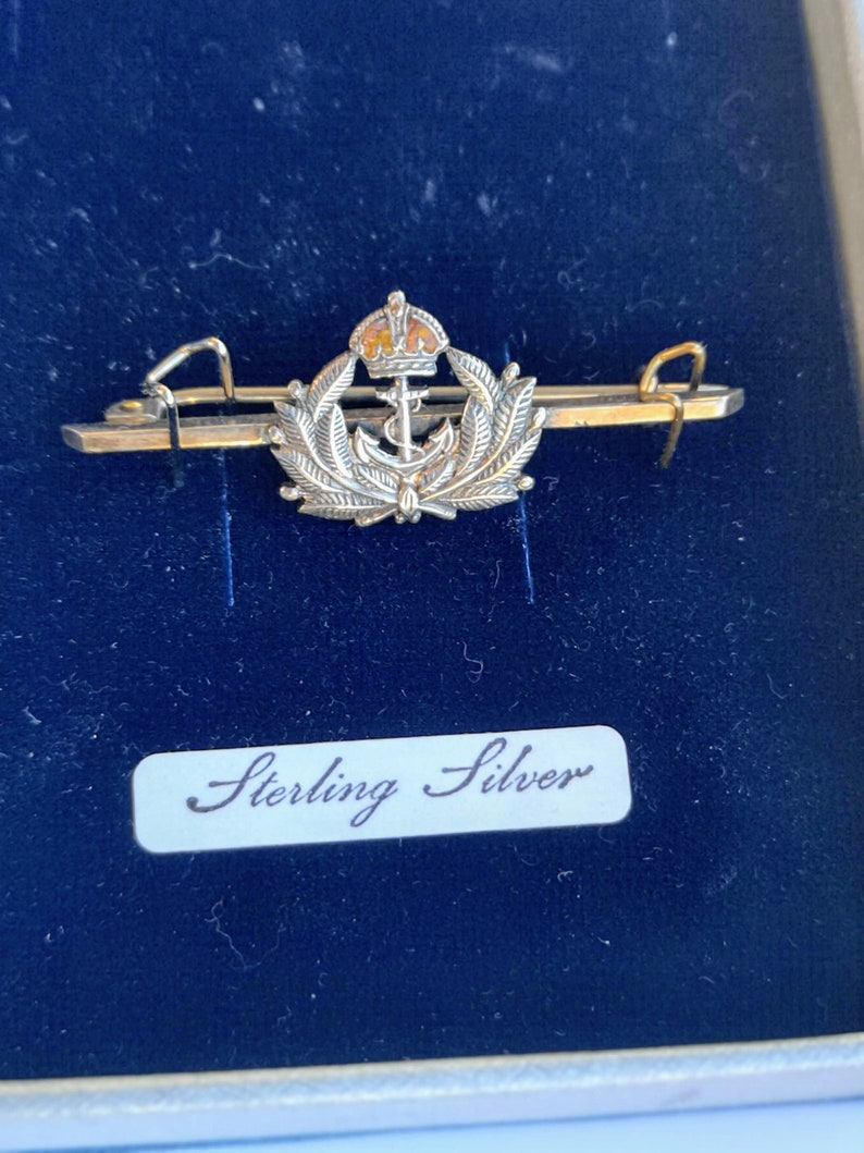 military Royal navy vintage sweetheart badge pin brooch hallmarked sterling silver