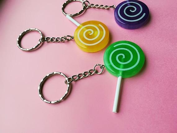 kawaii candy lollipop keychain backpack clip purse clip candy themed candy keychain backpack charm kawaii keychain leather tassel