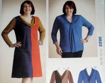 Designer Dress pattern, Kwik Sew 3823 sewing pattern, Plus Size Dress, Size 1X - 2X- 3X- 4X, Fashion Dress pattern, Epsteam