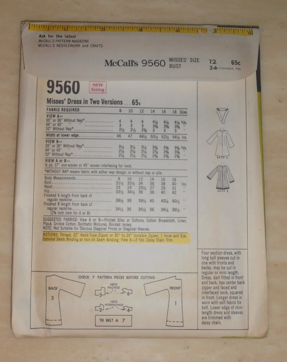 Vintage Kleid Muster Schnittmuster McCalls-9560 Größe 12 | Etsy